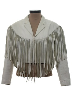 1980's Womens Totally 80s Leather Fringe Jacket