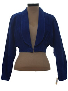 1980's Womens Blue Suede Leather Totally 80s Jacket