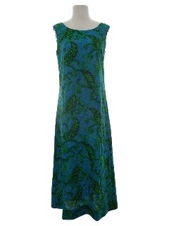 1960's Womens A-line Hawaiian Maxi Dress