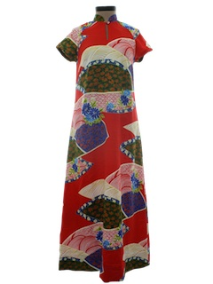 1980's Womens Hawaiian Maxi Dress