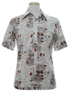 1970's Mens Resort Wear Style Print Disco Shirt