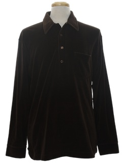 1960's Mens Mod Velour Knit Shirt