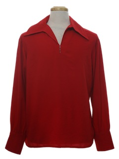 1970's Mens Solid Beat Nik Style Shirt