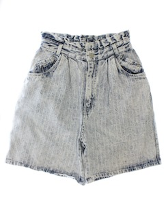 1980's Womens Totally 80s Acid Washed Denim Jeans Shorts