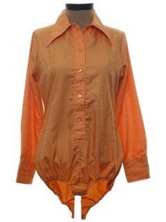 1970's Womens Leotard Style Solid Disco Shirt