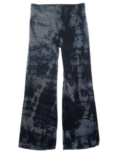 1970's Mens Tie Dye Acid Washed Navy Issue Bellbottom Jeans Pants