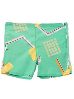 1980's Mens Totally 80s Board Swim Shorts