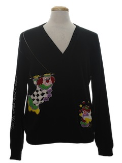 1970's Unisex Creepy Clown Sweater