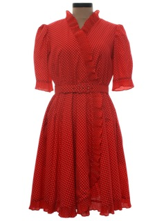 1970's Womens Square Dance Style Dress