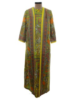 1960's Womens Maxi Hippie Cocktail Dress