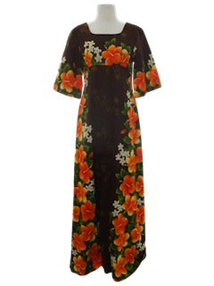 1970's Womens Maxi Hawaiian Dress