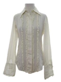 1970's Womens Ruffled Front Tuxedo Style Shirt