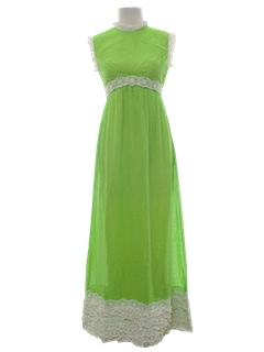 1970's Womens Hippie Style Prom or Cocktail Maxi Dress
