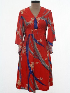 1970's Womens Hippie Hawaiian Dress