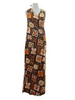 1960's Womens Hawaiian Wrap Maxi Dress