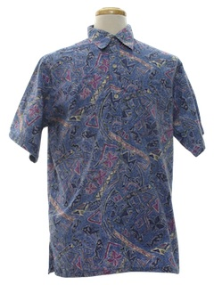 1970's Mens Reverse Print Hawaiian Shirt