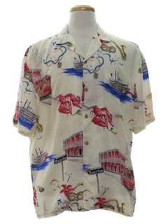 1980's Mens Mardi Gras Print Hawaiian Shirt