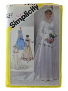 1980's Womens Totally 80s Bridal or Wedding Pattern