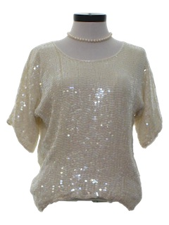 1980's Womens Totally 80s Sequined Cocktail Shirt