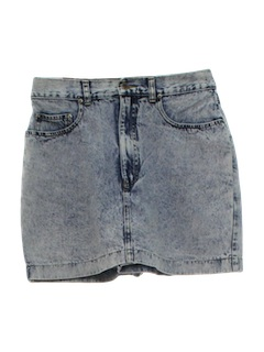1980's Womens Totally 80s Acid Washed Skirt Shorts