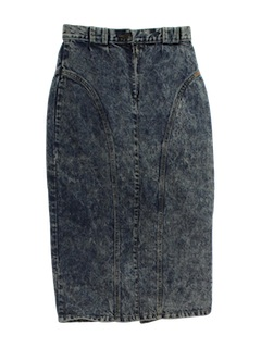 1980's Womens Totally 80s Acid Washed Jean Skirt