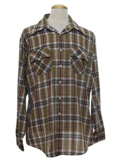 1970's Mens Western Style Print Shirt