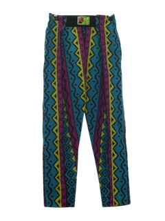 1980's Mens/Boys Totally 80s Print Baggy Pants