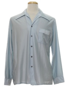 1970's Mens Slinky Nylon Solid Disco Shirt