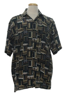 1980's Mens Graphic Print Totally 80s Sport Shirt