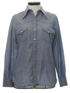 1970's Womens Western Chambray Shirt