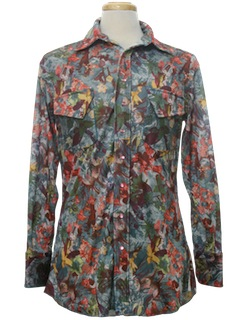 1970's Mens Western Style Print Disco Shirt