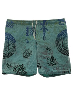 1980's Mens Totally 80s Swim Surf Shorts