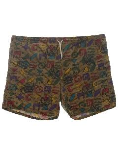 1980's Mens Mod Swim Shorts