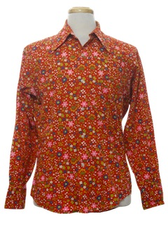 1970's Mens Cotton Blend Disco Style Hippie Pow-Flower Print Shirt