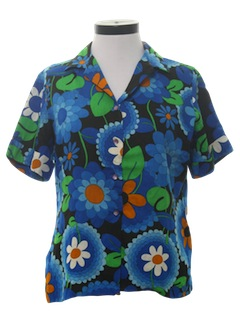 1970's Womens Mod Pow-Flower Shirt