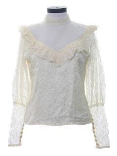 1980's Womens Victorian Style Prairie Shirt