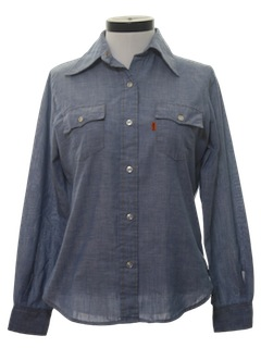 1970's Womens Chambray Western Shirt