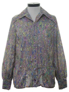 1970's Womens Psychedelic Print Hippie Shirt