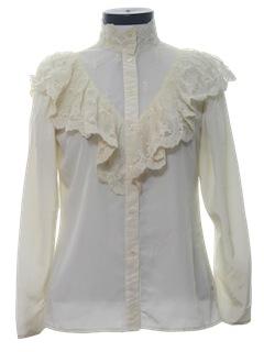 1980's Womens Ruffled Victorian Style Prairie Hippie Shirt