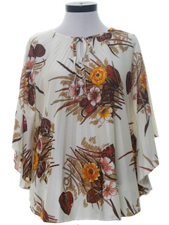1970's Womens Hawaiian Butterfly Pleated Shirt