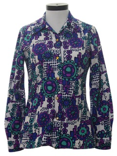 1970's Womens Pow-Flower Hippie Print Disco Shirt