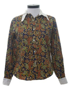 1970's Womens Paisley Hippie Shirt