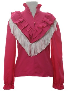 1980's Womens Totally 80s Prairie Syle Western Shirt