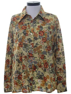 1970's Womens Hippie Print Disco Shirt