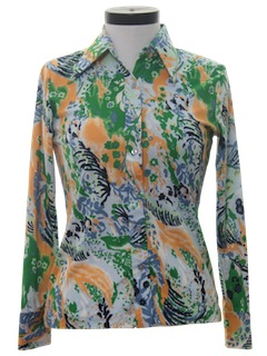 1970's Womens Abstract Psychedelic Print Disco Shirt