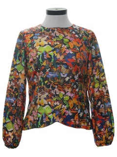 1970's Womens Butterfly Hippie Photo Print Print Shirt