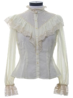 1980's Womens Totally 80s Ruffled Victorian Style Prairie Shirt
