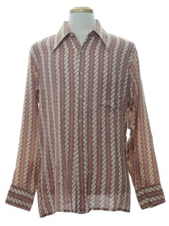 1970's Mens Print Cotton Blend Disco Style Sport Shirt