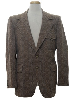1970's Mens Mod Western Disco Blazer Sport Coat Jacket