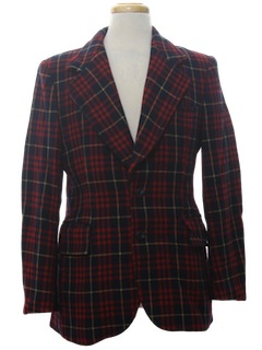 1970's Mens Plaid Disco Wool Blazer Sport Coat Jacket